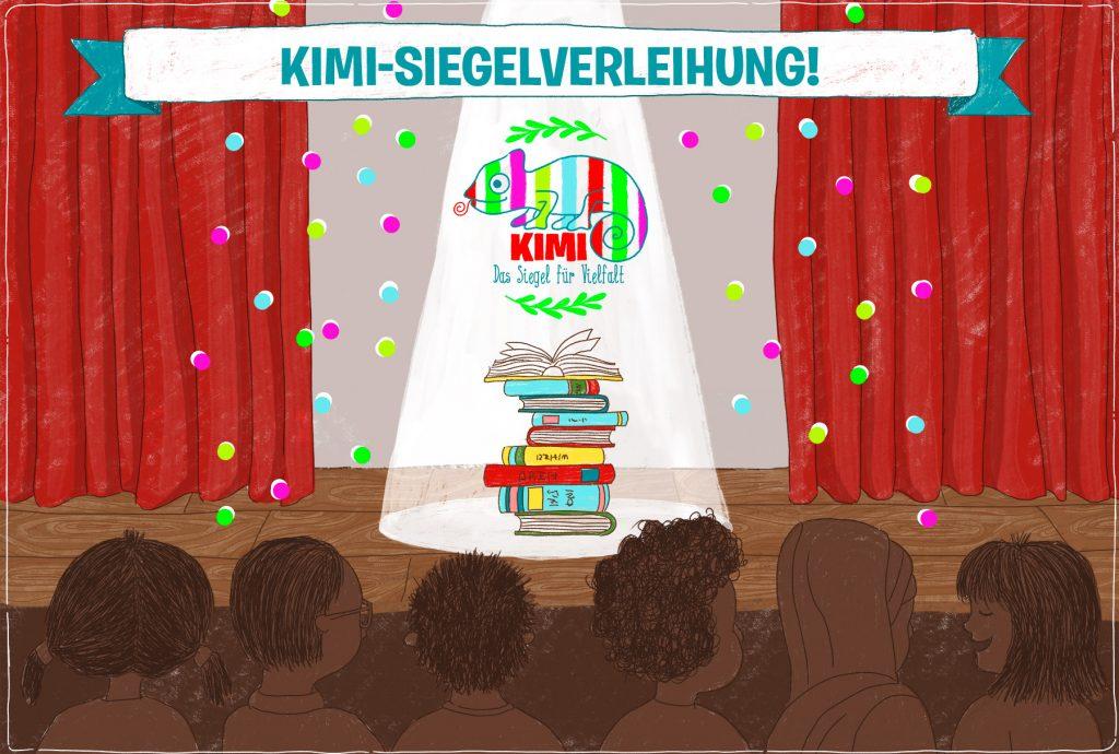 Eine Illustration von einer Bühne, auf der ein Bücherstapel zu sehen ist und der Schriftzug: KIMI-Siegelverleihung